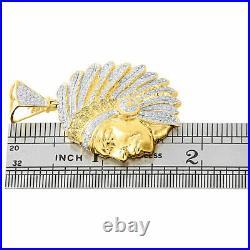 10K Yellow Gold Diamond Pendant Native American Indian Mens Pave Charm 1.33 Ct