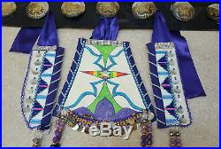 10 ABALONE CONCHOS NATIVE AMERICAN INDIAN LEATHER BELT With3 PIECE HANG DOWN SET