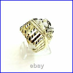10k yellow gold native American Indian chief head mens Ring diamond cut Size 9.5