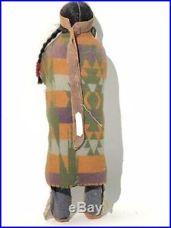 17 Skookum Doll Native American Indian Chief Early Real Hair