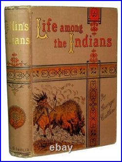 1891 AMERICAN INDIANS George Catlin INDIAN War SIOUX Weapon West Antique BUFFALO