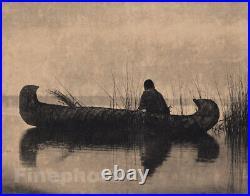 1900/72 Vintage EDWARD CURTIS Native AMERICAN INDIAN Canoe Duck Hunter Photo Art