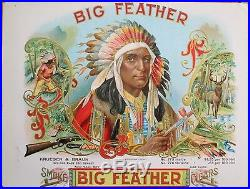 1900'BIG FEATHER' Indian Chief Sample Cigar Box Label- Native American, Western