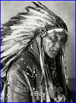 1927 Vintage NATIVE AMERICAN INDIAN Oklahoma Osagi Chief Photo Art By E. O. HOPPE