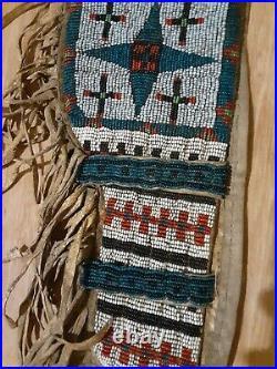 19th C Fully Beaded Buckskin Pistol Holster Native American Indian