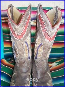 $290Western Leather Inlay Indian Chief Cowboy BootsMen 8.5 Women 10.5Corral