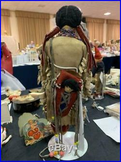 2 Antique Sioux Native American Indian Dolls Large 14 Leather Beaded Papoose