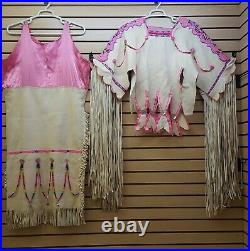 2 Piece Large Hand Crafted Pink Cut Beaded Native American Indian Buckskin Dress