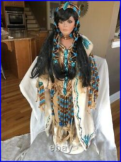 36 Standing Rustie Native American Indian Porcelain Girl Doll White Fox