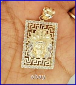 3D Native American Indian Chief Head Greek Key Square Pendant 14k Gold 8.3 grams