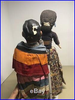 3 Vintage Handmade Native American Indian Dolls Seminole & Navajo Antique Straw