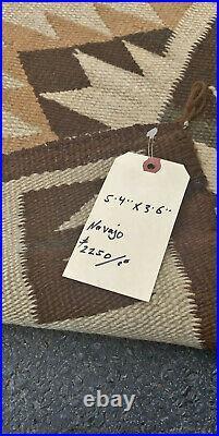 4X6ft Antique Navajo rug, blanket Native American textile cir 1920
