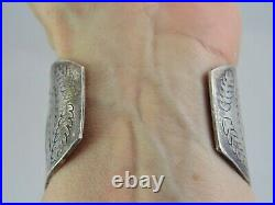 70g BIG OLD Vintage NAVAJO INDIAN Sterling & Turquoise CUFF BRACELET with Stamping