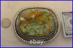8Ozt XXL ROYSTON BOULDER TURQUOISE CONCHO BELT BUCKLE Navajo Sterling Silver