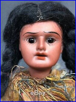 8 Antique German Bisque All Original Native American Indian Doll 8/0 OnHead #SF