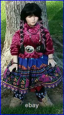 A21 26 Native American Indian Southwest Porcelain Doll Tender Tears