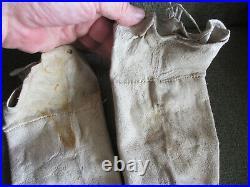 ANTIQUE ORIGINAL 1890 CROW or SIOUX INDIAN NATIVE AMERICAN BEADED HIDE LEGGINGS
