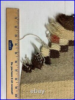 ANTIQUE Vintage NAVAJO NATIVE AMERICAN INDIAN RUG Double SADDLE BLANKET 63x30