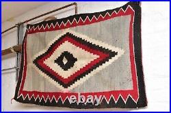 ATQ Navajo Rug native american indian weaving Textile LARGE 42x28 VTG Ganado
