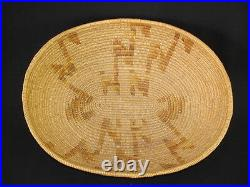 A Mission Basket with Gold Juncus Lighting, Native American Indian, Circa 1910