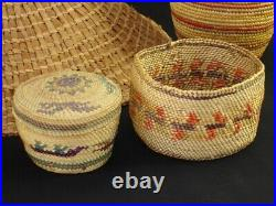 A Northwest Coast hat and 5 baskets, Native American Indian, Circa 1920