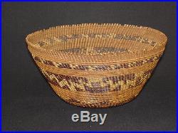 A Pomo Lattice Twined Bowl, Native American Indian Basket, Circa 1900