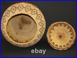A Yokuts polychrome lidded treasure basket, Native American Indian, c. 1915