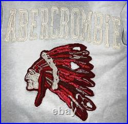 Abercrombie Hoodie Sweatshirt Native American Indian Chief Adult M Gray RARE