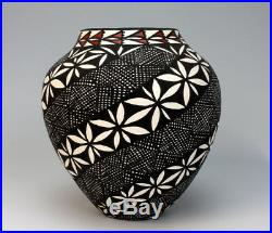 Acoma Pueblo Native American Indian Pottery Fine Line Vase #1 Sandra Victorino