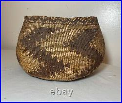 Antique 1800's Native American hand woven polychromed wicker basket Indian art =