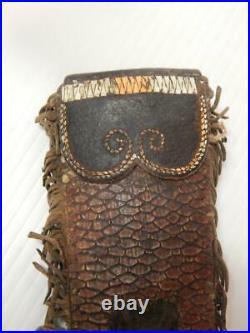 Antique 1840-60 Creek / Delaware Indian Quilled Blackened Hide Animal Knife Case