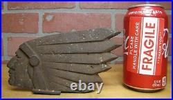 Antique Cast Iron Native American Indian Head Motorcycle Cigar Store Art Deco
