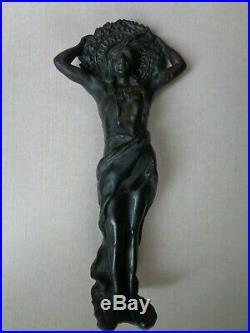 Antique Doe Wah Jack ROUND OAK Stove Top Native American Indian Statue Figure