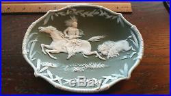 Antique Heubach Jasperware wall Plaque Native American Indian Horse Lion