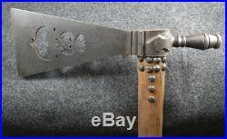 Antique Lakota Sioux Indian Pipe Axe Tomahawk Triple Bat Wing Cutout Wyoming