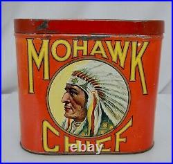 Antique Mohawk Chief Cigar Tobacco Tin Native American Indian 81702