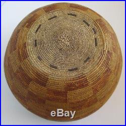 Antique Native American California Mission Indian Basket, Very Finely Woven 9.5
