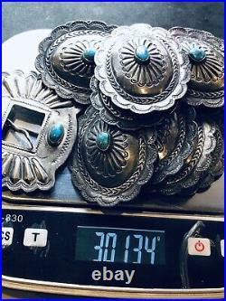 Antique Native American Indian Navajo Concha Belt With Turquoise Coin Silver