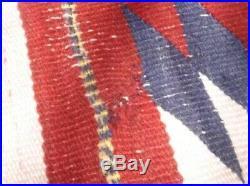 Antique Navajo Rug Blanket Native American Indian Serape Weaving Textile