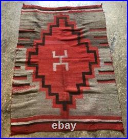 Antique Navajo Rug Blanket Serape Native American Indian Hero Weaving 61x41 1875