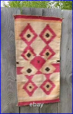 Antique Navajo Rug Childs Blanket Native American Indian Serape Weaving Textile