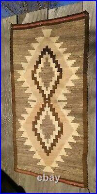 Antique Navajo Rug JB Moore Crystal Blanket Native American Indian Weaving 56x30
