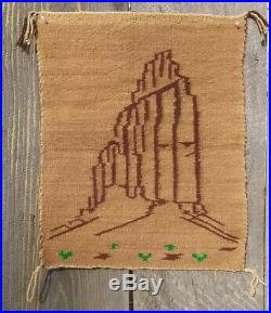 Antique Navajo Rug Native American Indian Weaving Shiprock Pictorial Tapestry