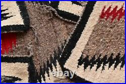 Antique Navajo Rug native american indian weaving Textile LARGE 49x33 Vintage