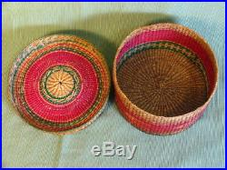Antique Northwest Coast Native American Indian Lidded Basket Tight Weaved 7