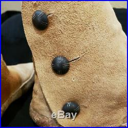Antique Old Apache Native American Indian Cactus Kicker Moccasins Silver buttons