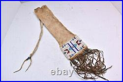 Antique Old Northern Plains Souix Native American Indian Beaded Quilled Pipe Bag