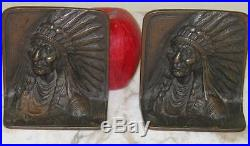 Antique Pair Of Bronzed Native American Indian Chief Marked Bronzmet Bookends