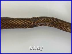 Antique Penobscot Native America Indian Wendigo Tribal Carved Root Wood War Club