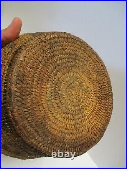 Antique Pima Papago Basket Tribal Native American Indian Art Sculpture 9 Inch